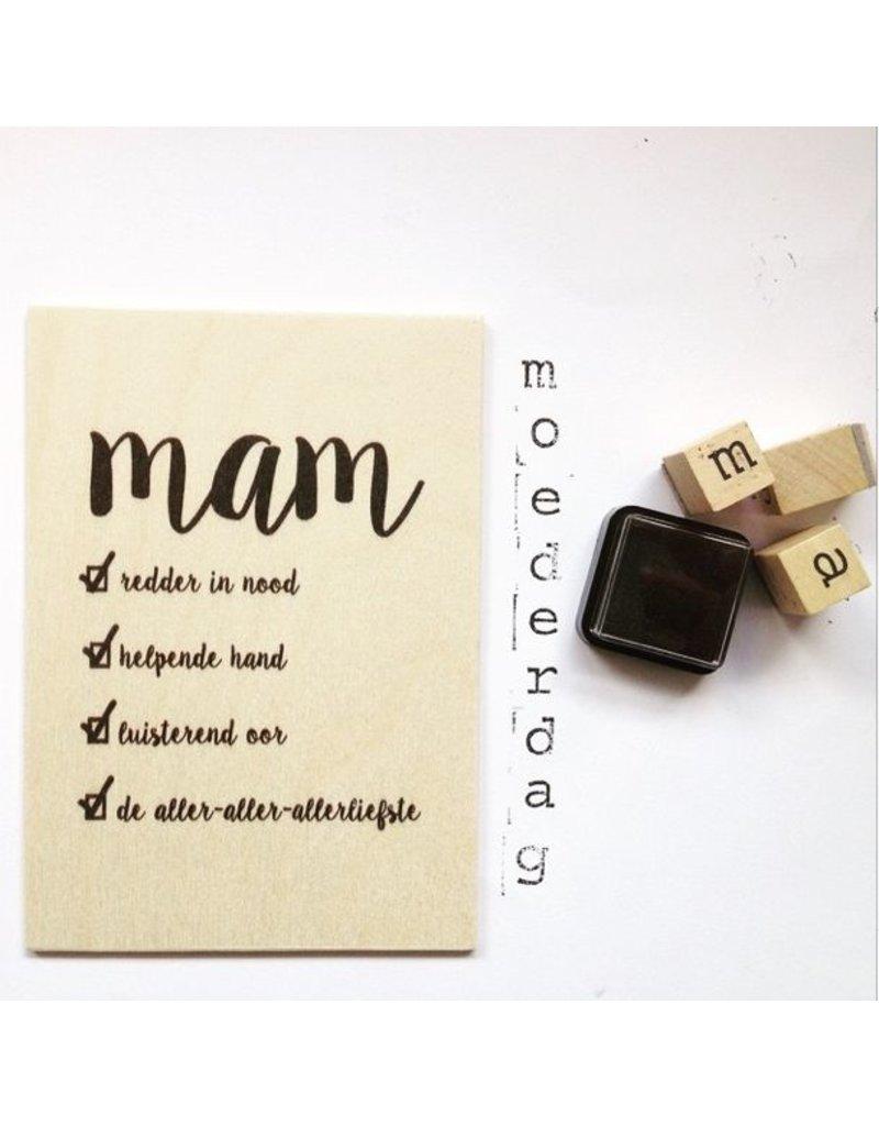 Zoedt Houten kaartje Mam checklist