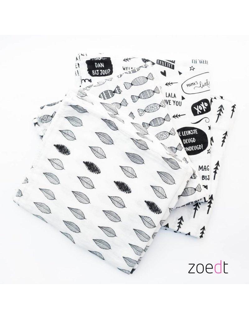 Zoedt Witte Hydrofiele doek met zwarte pijltjes 120x120cm
