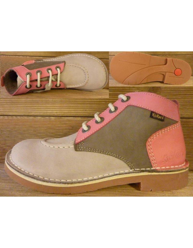 Kickers Schuhe Jeansboot Low grau-kiesel-rosa  Gr. 38