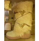 Lackner Schuhe Echtfell Winterstiefel mit Schurwollfutter beige Hoehe 33cm Wadenumfang 38cm