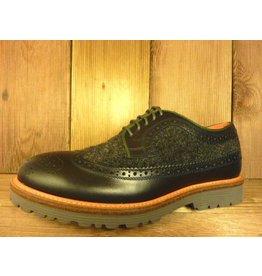 AMBITIOUS Schuhe Herrenschuhe zum Schnüren nachtblau anthrazit Gr. 39 Budapester mit Filz