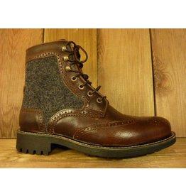 AMBITIOUS Schuhe Herrenstiefeletten zum Schnüren braun grau Gr. 39 Budapester mit Filz