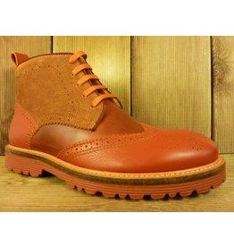 AMBITIOUS Schuhe Herrenstiefeletten zum Schnüren rot bordeaux orange Budapester Schnürer