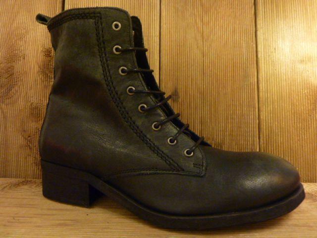 Lazamani Schuhe Stiefletten schwarz mit Krempe oder Schnürung
