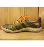 Kacper Schuhe Ledersportschuhe grün lila orange mit Lederfutter