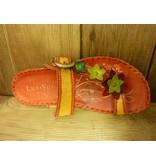 Laura Vita Sandale Selene orange bunt Sandalette aus Leder mit verstellbarer Fussweite