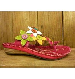 Laura Vita Sandale Self pink bunt Sandalette aus Leder mit verstellbarer Fussweite