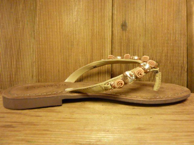 Lazamani Schuhe Sandalette mit schöner Strass und Kupfer Applikation beige Leder