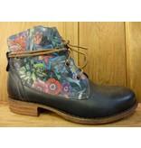 Double You Schuhe by Dessy Stiefeletten blau Blumen Schnürung Reissverschluss