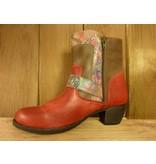 Double You Schuhe by Dessy Stiefeletten rot Blumen Reissverschluss