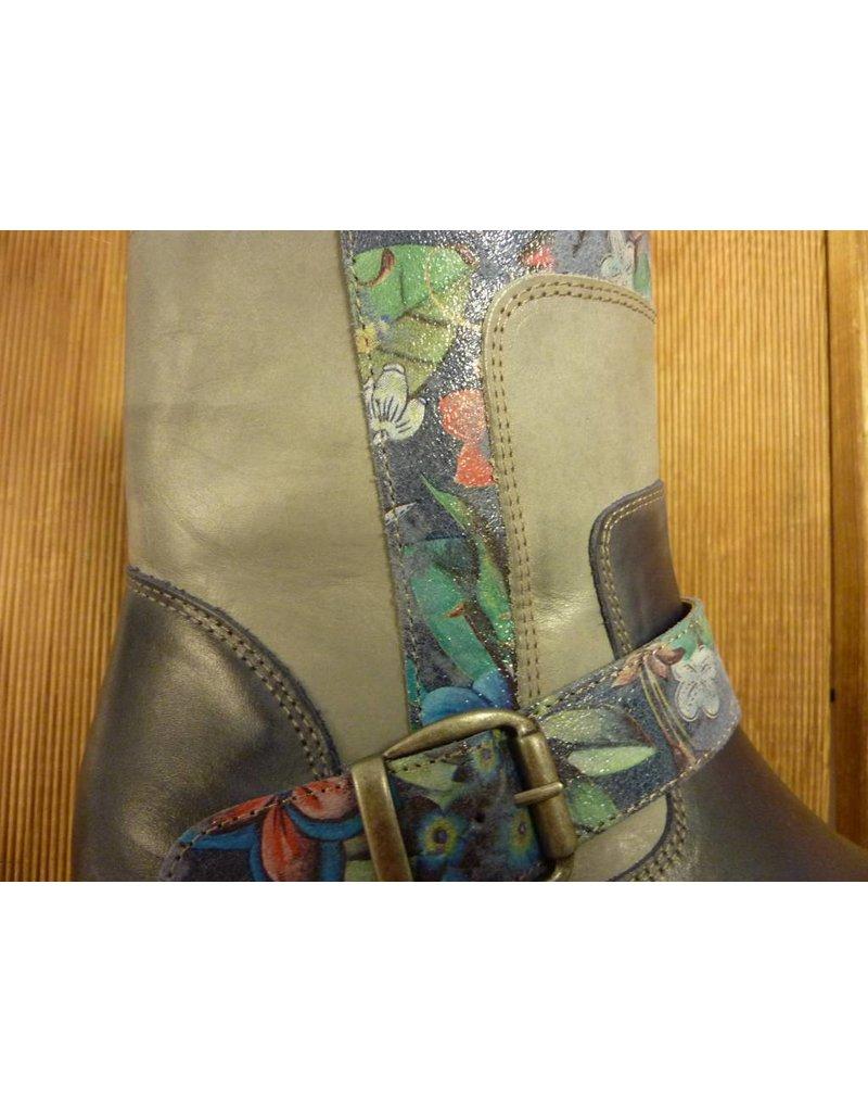 Double You Schuhe by Dessy Stiefeletten blau Blumen Reissverschluss