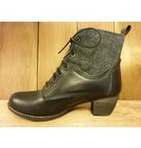 Double You Schuhe by Dessy Stiefeletten schwarz Schnürung Reißverschluss Blockabsatz
