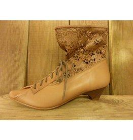 Double You Schuhe by Dessy Stiefeletten in beige aus weichem Leder Krempe Lochmuster