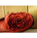 Laura Vita Mocassin Ballerina Viviane rot mit großer Lederblume