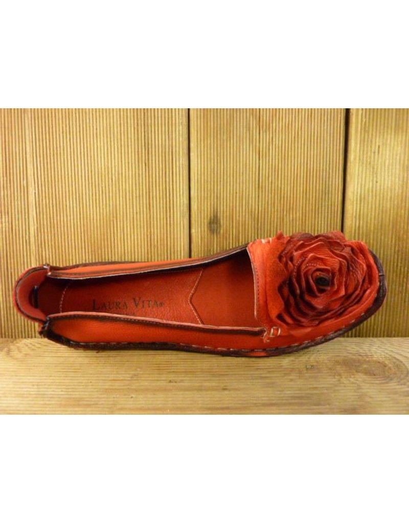 mocassin ballerina viviane rot mit gro er lederblume. Black Bedroom Furniture Sets. Home Design Ideas