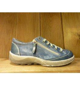 Double You Schuhe by Dessy Sneaker Sportschuhe blau gemasert aus Leder Schuhe Damen vegetabil pflanzlich gegerbtes Futter