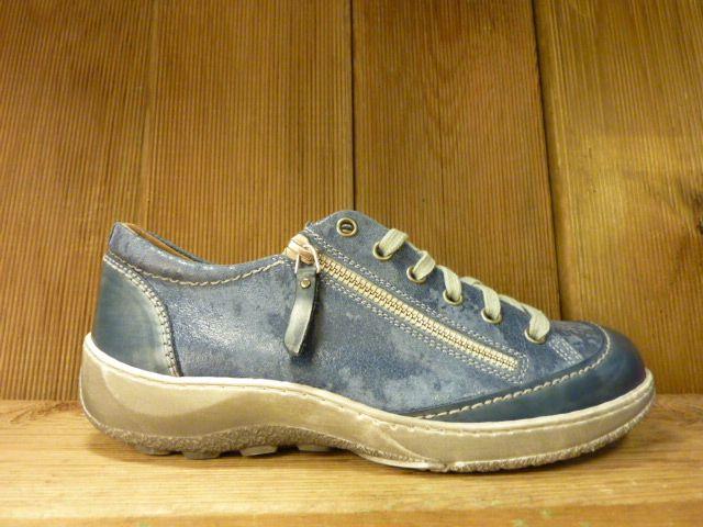 Double You Schuhe by Dessy Schuhe Sneaker Sportschuhe blau gemasert vegetabil pflanzlich gegerbtes Futter aus Leder Wechselfussbett