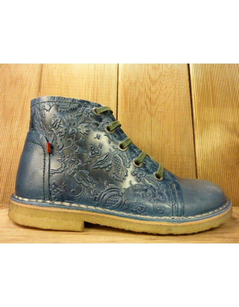 Grünbein Schuhe Schnürschuhe blau auch für Einlagen Lederschuhe Ranken Kreppsohle