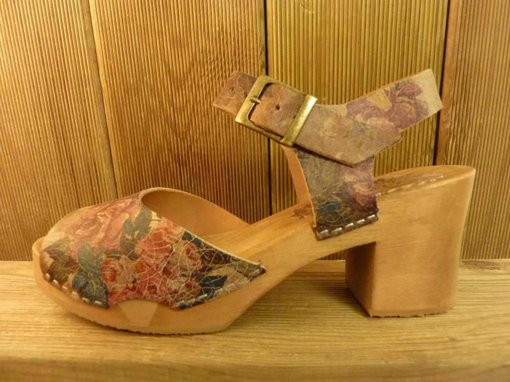 Grünbein Schuhe Sandalette Betty Plateau Blumen braun Leder flexible Holzsohle