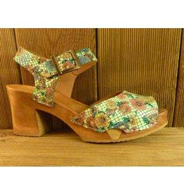 Grünbein Schuhe Sandalette Betty Plateau Blumen floral bunt floral Leder flexible Holzsohle