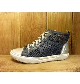 Double You Schuhe by Dessy Damen Sneaker Sportschuhe blau perforiert aus Leder mit Wechselfußbett