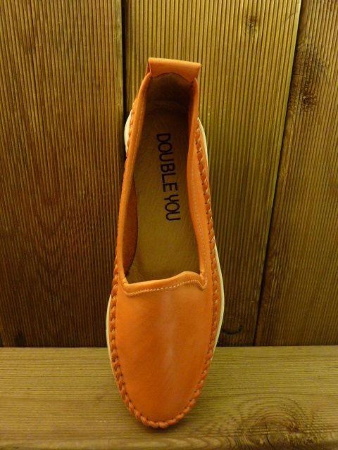 Double You Schuhe by Dessy orange Mokassins Damenschuhe mit pflanzlich gegerbtem Leder und Gummisohle