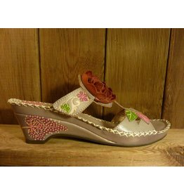 Laura Vita Sandale grau bunt Sandale aus Leder