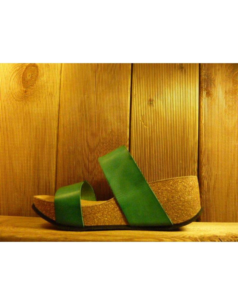 Double You Schuhe by Dessy Grüne Sandaletten mit Kork-Plateauabsatz und Gummisohle