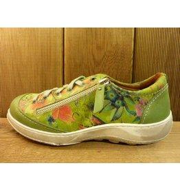 Double You Schuhe by Dessy Sneaker Sportschuhe grün mit Blumen aus Leder Schuhe Damen vegetabil pflanzlich gegerbtes Futter