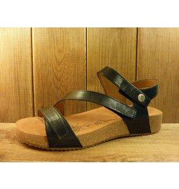 Josef Seibel Schuhe Schwarze Damen Sandalen aus Leder mit Klettverschluss