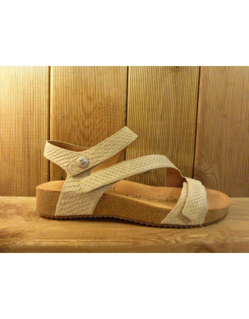 Josef Seibel Schuhe Hellbeige Damen Sandalen aus Leder mit drei Klettverschlüssen und angenehmen Fußbett
