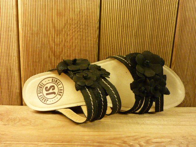 Josef Seibel Schuhe schwarze Ledersandalen mit Blumenaccesoires