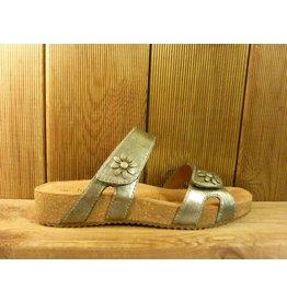 Josef Seibel Schuhe graue Sandalen aus Leder mit Blumennieten