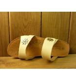Josef Seibel Schuhe weiße Ledersandalen mit zwei Blumennieten und Klettverschlüssen