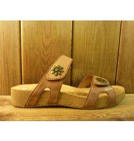 Josef Seibel Schuhe braune Sandalen aus Leder mit Blumennieten