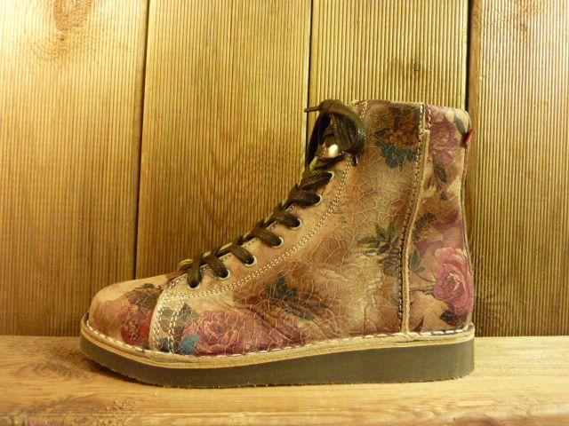 Grünbein Schuhe Boots Louis beige mit floralem Muster Schnürschuhe auch für Einlagen zwiegenähter Lederschuhe