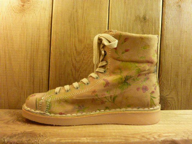 Grünbein Schuhe Boots Louis ll beige mit floralem Muster Schnürschuhe auch für Einlagen zwiegenähter Lederschuhe