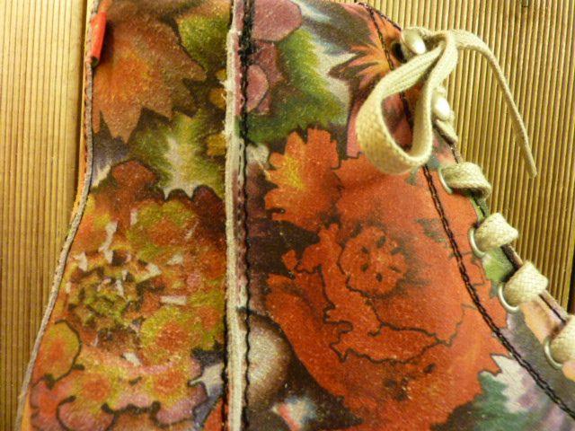 Grünbein Schuhe Boots Louis XIV bunt mit floralem Muster Schnürschuhe auch für Einlagen zwiegenähter Lederschuhe