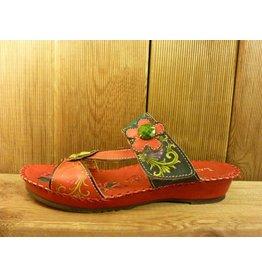 Laura Vita Sandale vade rot-bunte Sandalette aus Leder mit verstellbarer Fussweite