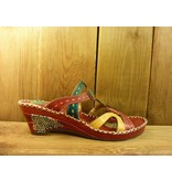Laura Vita Sandale vana rot-bunte Sandalette aus Leder mit Absatz
