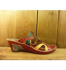 Laura Vita Sandale vana rot-bunte Sandalette aus Leder