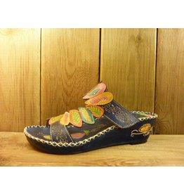 Laura Vita Sandale vasou blau-bunte Sandalette aus Leder mit verstellbarer Fussweite