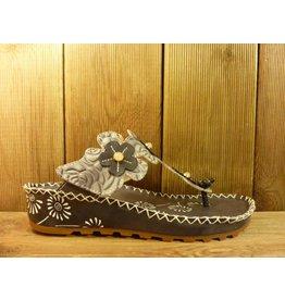 Laura Vita Sandale valet graue Sandalette aus Leder mit verstellbarer Fussweite