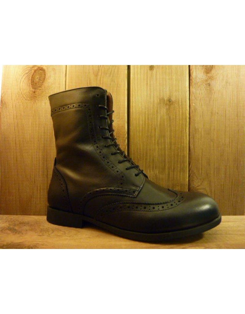 Birkenstock Schwarze Stiefeletten aus Naturleder mit Birkenstock-Laufsohle, Reißverschluss, Schnürrung und budapester Muster