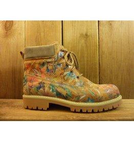 Double You Schuhe by Dessy Damen braune Lederboots mit floralem Muster