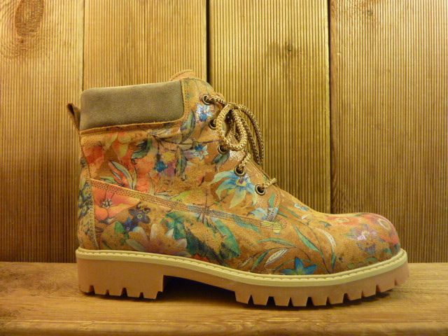 Double You Schuhe by Dessy Damen braune Lederboots mit floralem Muster, Gummisohle mit Profil und Standardabsatz sowie Laufsohle aus Leder