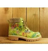 Double You Schuhe by Dessy Damen grüne Lederboots mit floralem Muster Profilgummisohle und Lederlaufsohle
