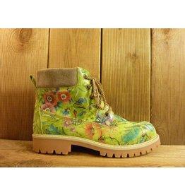 Double You Schuhe by Dessy Damen grüne Lederboots mit floralem Muster