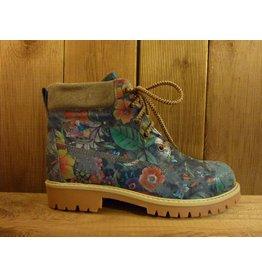Double You Schuhe by Dessy Damen blaue Lederboots mit floralem Muster