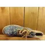 Double You Schuhe by Dessy Damen blaue Lederboots mit floralem Muster, Gummisohle mit Profil und Standardabsatz sowie Laufsohle aus Leder